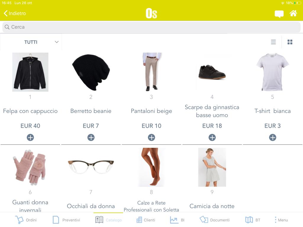 Order Sender - Catalogo prodotti